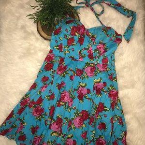 Betsey Johnson Floral Halter Swing Dress